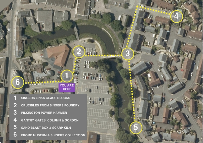 Map of Singers artefacts in the town centre